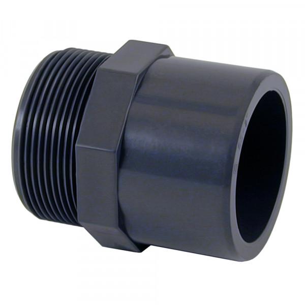 "PVC Übergangsnippel 63/50 mm x 2"" grau Sechs-/Achtkant"