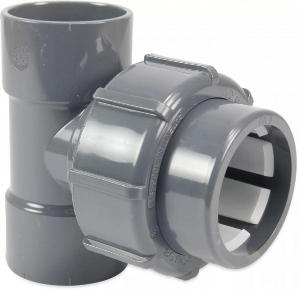 FlexFit T-Stück 90°PVC-U 50 mm Klebemuffe x Klemm x Klebemuffe