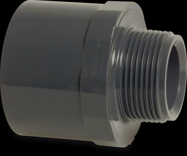 "PVC Übergangsnippel 63/75 mm x 1 1/4"" grau Sechs-/Achtkant"