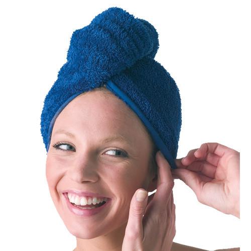Haarturban, Microfaser, Teddy-Plüsch blau