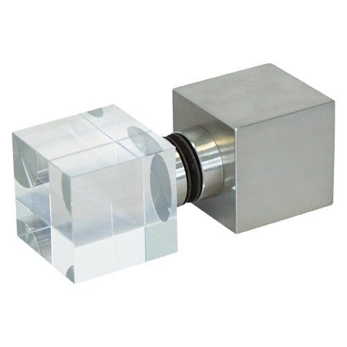 Würfelgriff eckig, Glas-Edelstahl Kombination