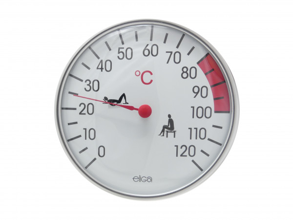 Elsässer Sauna Thermometer silber 128 mm